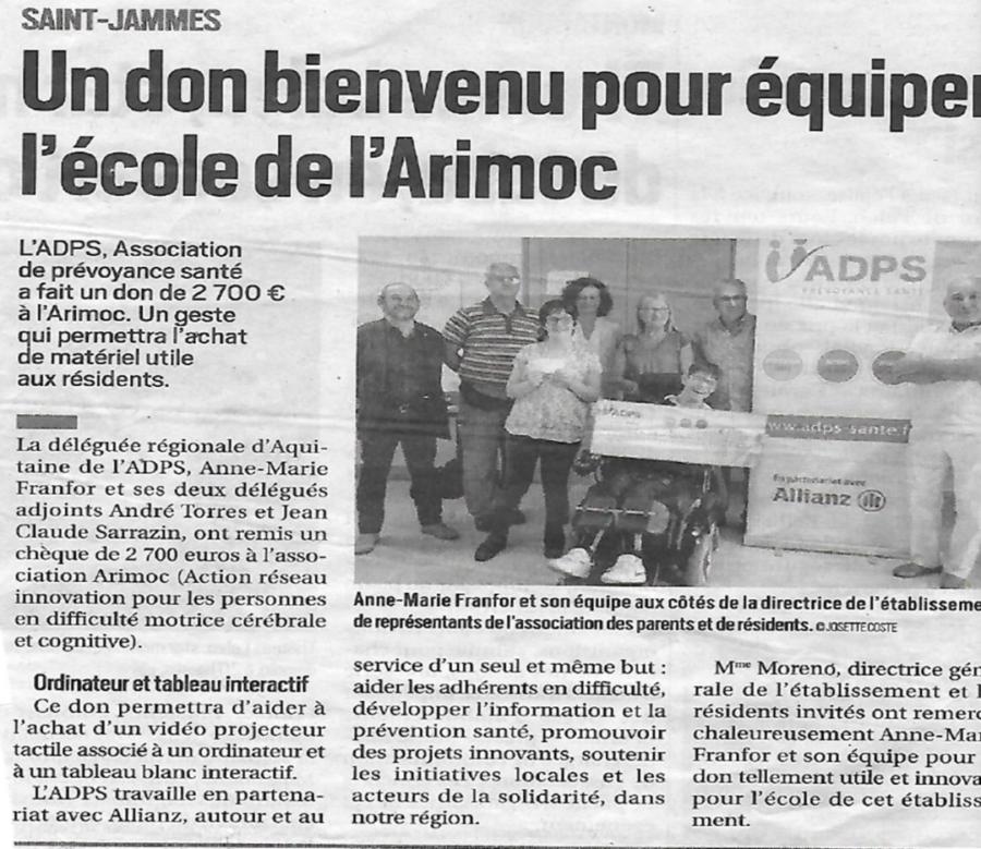 Un don pour équiper l'école de l'ARIMOC