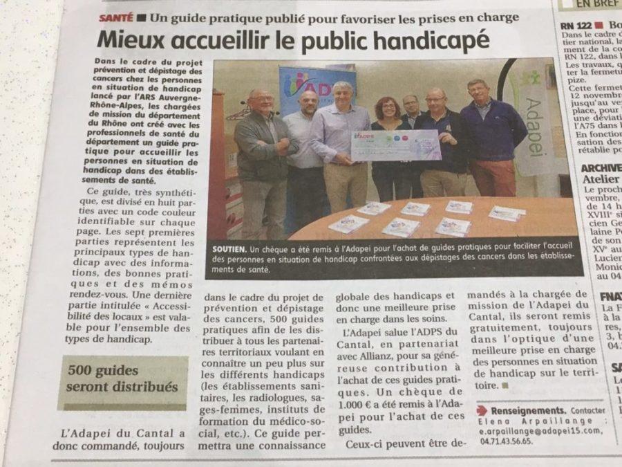 Un don à l'ADAPEI du Cantal