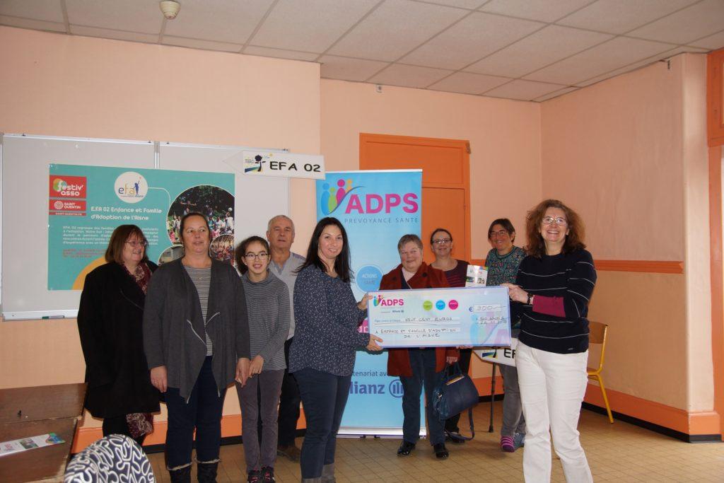 Un don à l'association Enfance et Familles d'Adoption de l'Aisne